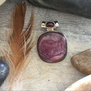 Natural African Ruby & garnet sterling pendant